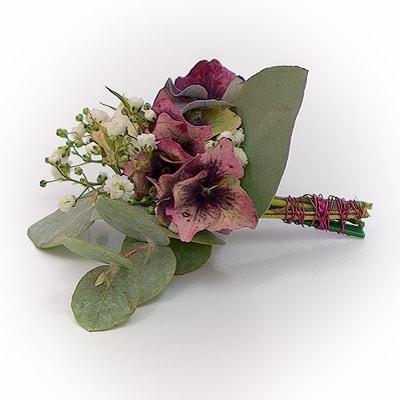 Hochzeit - Anstecker mit französischer Hortensie und Eukalyptus