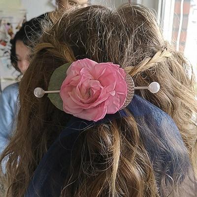 Hochzeit - Haarschleife mit Rose
