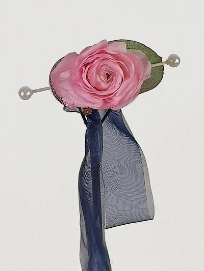 Haarspange mit rosa Pfingstrose
